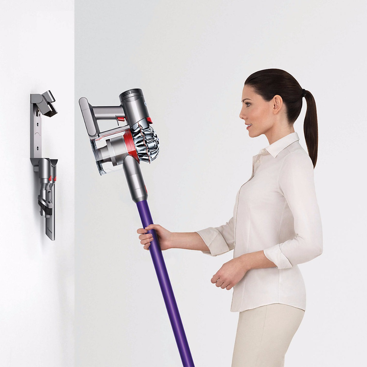 dyson v7 animal Cord-Free Vacuum Cleaner. Stores and charges the machine, and holds additional attachments. Charging and storing the vacuum on the docking station means it's always ready to go.