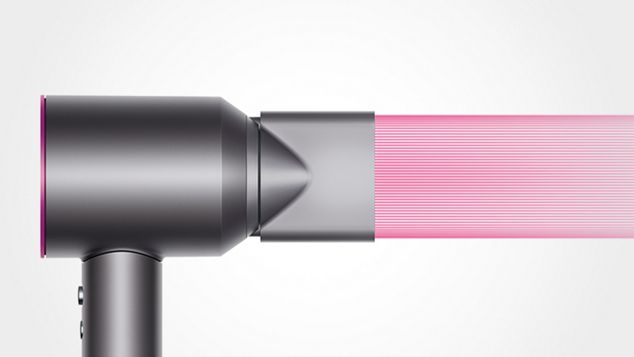 Dyson supersonic hair dryer with the styling concentrator fitted. A narrow blast of air comes from the supersonic